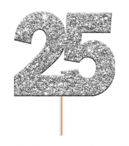 Silver Glitter Number 25 Picks